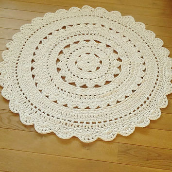 READY TO SHIP! Hand Knit Original /White Crochet Carpet / Crochet Rug Rag / Round Rug/Kids Room Rug