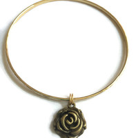 Gold Rose Bracelet - Alex and Ani Inspired - Rose Flower Charm Bracelet - Gold Jewelry - Stacking Bangles