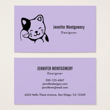 Cute Black and White Kitty Cat Waving Hello Business Card