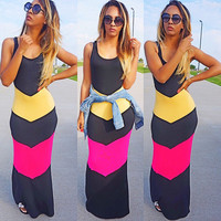 Scoop Sleeveless Bodycon Three Colors Patchwork Long Beach Dress