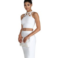 Promo- White Caught Up Sweater Crop Top