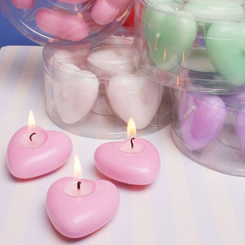 Floating Heart Candles with Fragrance Scent, 1-3/4-inch, 6-pack