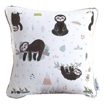 Cute Sloth Velvet Decorative Pillow w/ Reversible Gold & White Sequins - COVER ONLY (Inserts Sold Separately)
