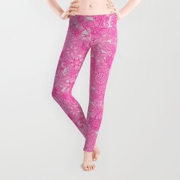 """""""Welcome birds to my pink garden"""" Leggings by Juliagrifol Designs"""