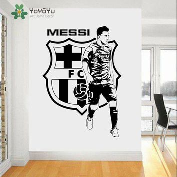 Messi Football Star Barcelona Quote Wall Stickers Art Room Removable Decals DIY Boys Bedroom Art Mural Decor NY-37