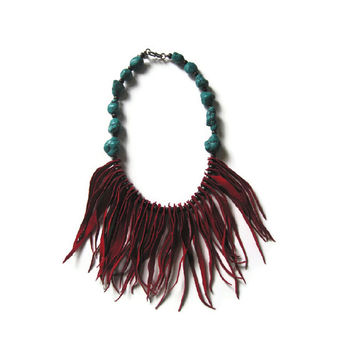 Leather Fringe and Coral Statement Necklace - Boho Chic Style Necklace - Leather Jewelry
