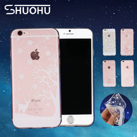 Fashion Christmas Snow Deer Ultra Thin Transparent Back Cover TPU Soft Clear Coque Phone Case For iPhone 5 5S SE 6 6S 7 7 Plus