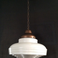 Antique Vintage Art Deco Pendant School Light White and Prismatic Glass 1930s