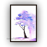 Jacaranda tree watercolor painting Blue purple spring flowering tree nature abstract wall art botanical print poster decor  5x7 8x10 11x14