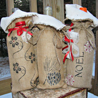 Burlap Wine Bag, Rustic Wedding Decor Choice of 3