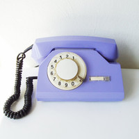 Rotary Telephone Vintage Dial Desk phone from Soviet era USSR Amethyst Violet Lilac Office supply Trending item Industrial Home Decor