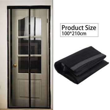 ac spbest OUTAD Black Summer 100 X210cm Magnetic Mosquito Net Anti-mosquito Mesh Curtains Door Tulle Window Screen Automatic Closing