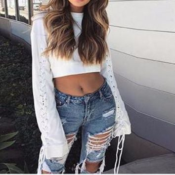 White Cropped Lace-Up Sleeved Jumper