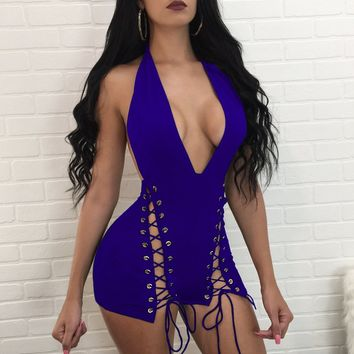 Cutout Back Plunging Lace-Up Tight Rompers