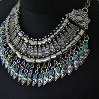 Silver Boho Necklace,Statement Necklace, Bib Necklace, Silver Turquoise Necklace
