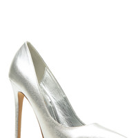 Silver Faux Leather Pointy Toe Classic Pumps