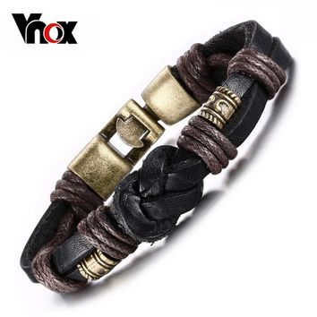 Vnox Vintage Leather Bracelet  Bronze alloy Buckle Classical Style  Easy Hook For Men