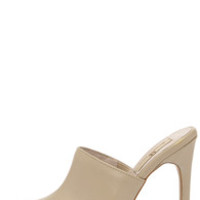 Mia Limited Jethro Taupe Leather Pointed Toe Mules