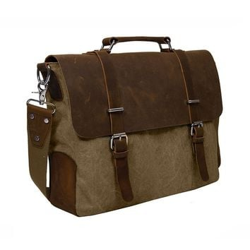 "ECOSUSI Vintage Canvas Leather 14.7"" Laptop Messenger Bag Men Satchel Briefcase"