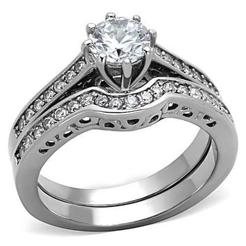 WildKlass Stainless Steel Western Ring High Polished (no Plating) Women AAA Grade CZ Clear