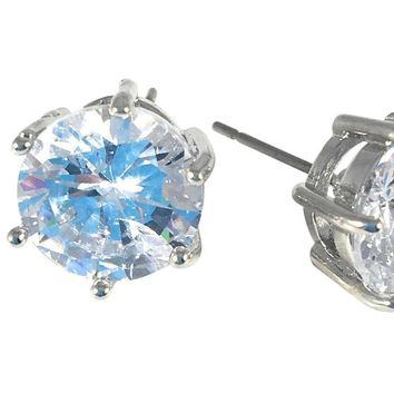 "Cubic Zirconia Earrings Round Silver Plated Stud 10mm, 0.39"" Diameter"