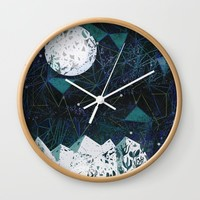 winter geometry Wall Clock by Bunny Noir