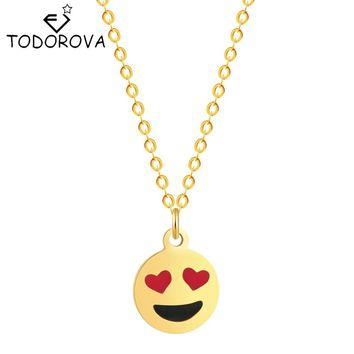 Todorova Love Heart Eyes Emoji Smile Face Yellow Pendant Necklace Women Men Choker Jewelry Gifts a Variety of Expressions Charms