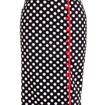 Betty Bombshell Pencil Skirt in Polka Dot