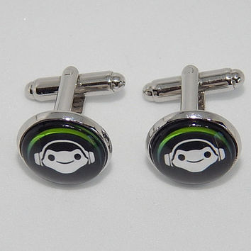 Overwatch Lucio cufflinks, Lucio simbol, Lucio icon logo, Lucio patch, superhero cufflinks, gamer cufflinks, video game overwatch gift men's