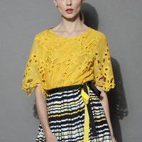 Floral Dream Crochet Cutout Top in Mustard Yellow S/M