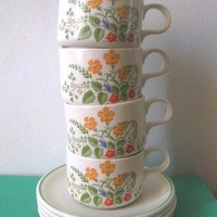 Vintage English Teacups Baratts of Staffordshire, teacup and saucer, English tea set, porcelain cup, Made in England