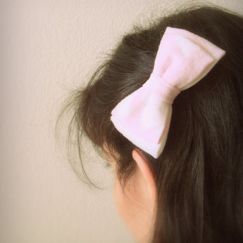 Pink Hair Bow Bleached Recycled T Shirt Pastel Pink Upcycled Hair Accessories