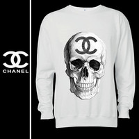 CHANEL skull logo 7 handmade high quality ditailed by hand screen printed white men women sweatshirt