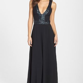 Women's Dress the Population 'Delani' Sequin Crepe Gown,