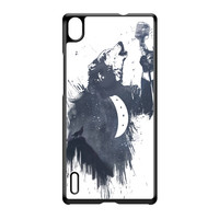 Wolf Song 3 Black Hard Plastic Case for Huawei P7 by Balazs Solti
