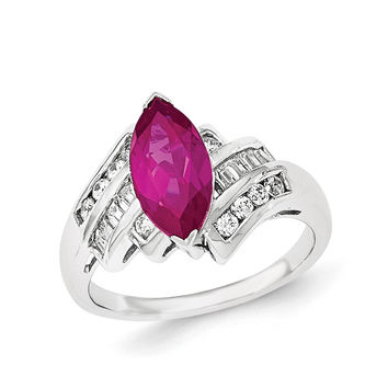 Sterling Silver Synthetic Ruby & CZ Marquise Ring