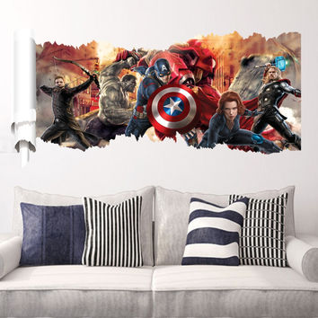 90*50cm newest impression 3D cartoon movie the Avengers Captain home decal wall sticker/boys love kids room decor child gifts SM6