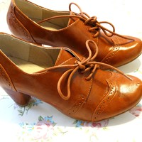 Lace-up Oxford Pumps Tan Morgan By Chelsea Crew Size 5