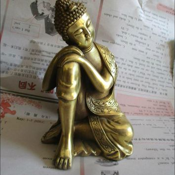 Metal Crafts  Chinese Brass Carved Sleeping Buddha Statue/ Buddhism Sculpture For Wedding/Home decoration Gift