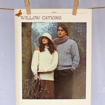 Vintage Wall Decor 'Willow Catkins' 1980s Photographic Print, Winter Couple Knitting Scene Outdoors in Neutrals Cream Grey Wall Decor