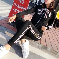 """Gucci"" Women Personality Bow Multicolor Stripe Embroidery Sequin Cat Head Long Sleeve Zip Cardigan Hooded Coat Trousers Set Two-Piece Sportswear"