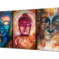 Printed Abstract Buddha Wall Art 3 Piece Canvas Living Room Decoration Modern Wall Art Decorative Wall Pictures Bedroom Painting