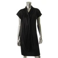 DKNY Womens Contrast Trim Silk Cocktail Dress