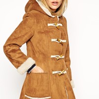 ASOS PETITE Exclusive Faux Shearling Duffle Coat