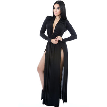 Black Long Sleeves Long Maxi Dress LAVELIQ