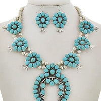 Santa Cruz Squash Blossom Necklace in Turquoise Stone