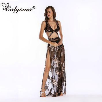 Colysmo womens sexy dresses party night club dress Perspective exposed umbilical equipment Uniforms harness Sequins dress new