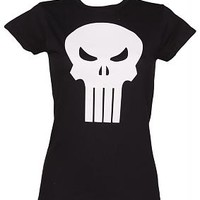 Ladies The Punisher Skull Logo T-Shirt : TruffleShuffle.com