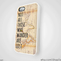 Vintage Map iPhone 5 4 4S Case New Not All Who Wander Are Lost Silicone JRR Tolkien LOTR