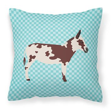 American Spotted Donkey Blue Check Fabric Decorative Pillow BB8025PW1818